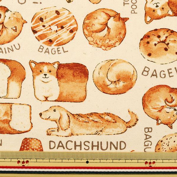 【数量5から】生地 『オックス 犬パン柄 キナリ YP31-9603-1A』 KOKKA コッカ【ユザワヤ限定商品】