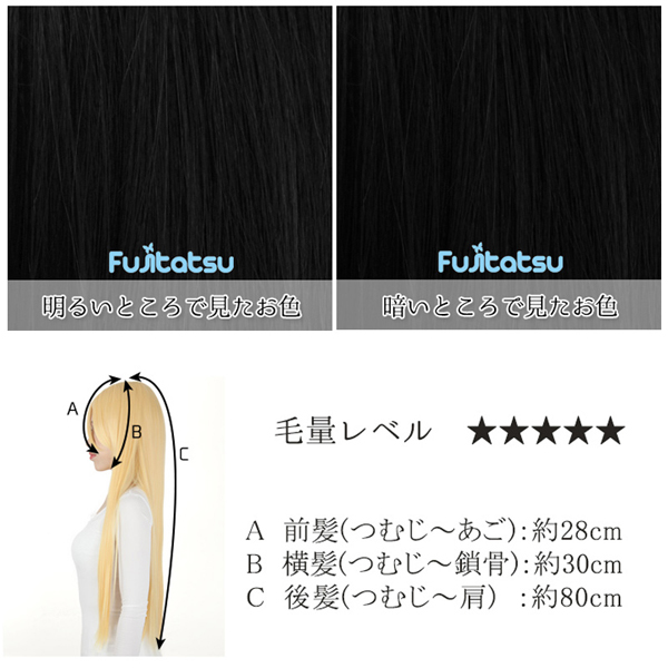ウィッグ 『コスプレロングウィッグ ピュアブラック』 Fujitatsu 富士達