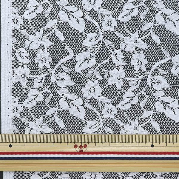 【数量5から】生地 『ラッセルレース 白14827-1 花柄 レース柄 ホワイト』