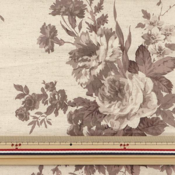 【数量5から】 生地 『綿麻シーチング マンセルコレクション 約110cm幅 大花柄 ブラウン YUZ-653-5』 YUWA 有輪商店