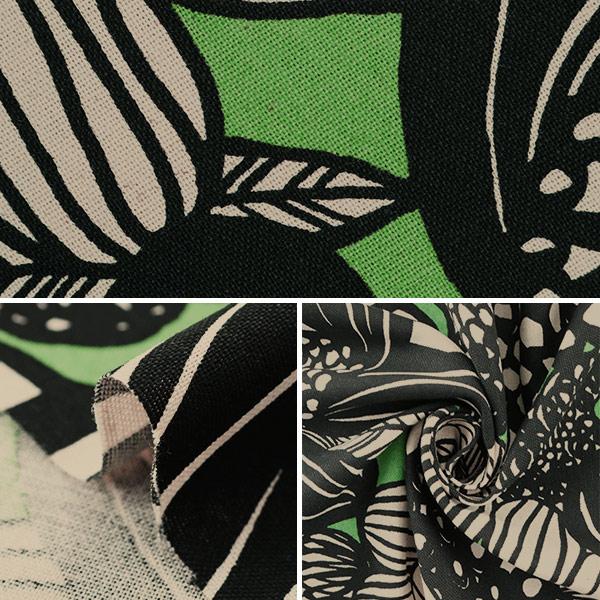 【数量5から】生地 『綿麻キャンバス アートフラワー グリーン UP5678-B う早この布』 COTTON KOBAYASHI コットンこばやし 小林繊維