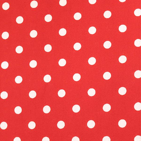 【数量5から】生地 『水玉ブロードプリント中 (7-10) 赤地×白』