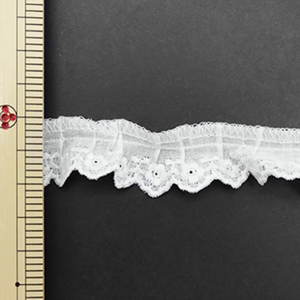 【数量5から】 レース 『綿フリル 幅約2cm 1番色 1096F-1』