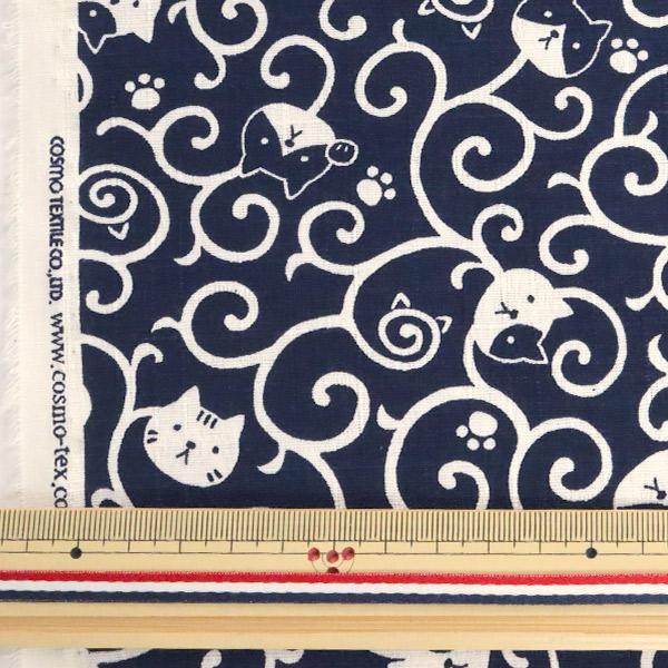 【数量5から】 生地 『ドビー織りプリント ネコ唐草 紺 AP82306-1D』