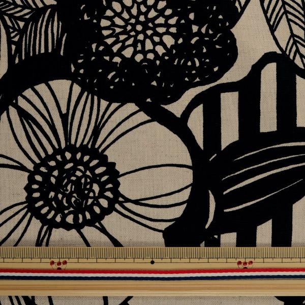 【数量5から】生地 『綿麻キャンバス アートフラワー ブラック UP5678-A う早この布』 COTTON KOBAYASHI コットンこばやし 小林繊維