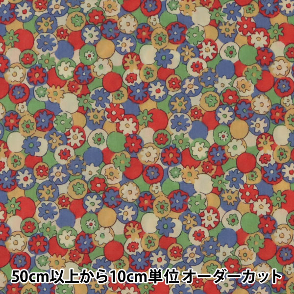 【数量5から】生地 『LIBERTY リバティプリント タナローン ポルカ・デイジー レッド』 Liberty Japan リバティジャパン