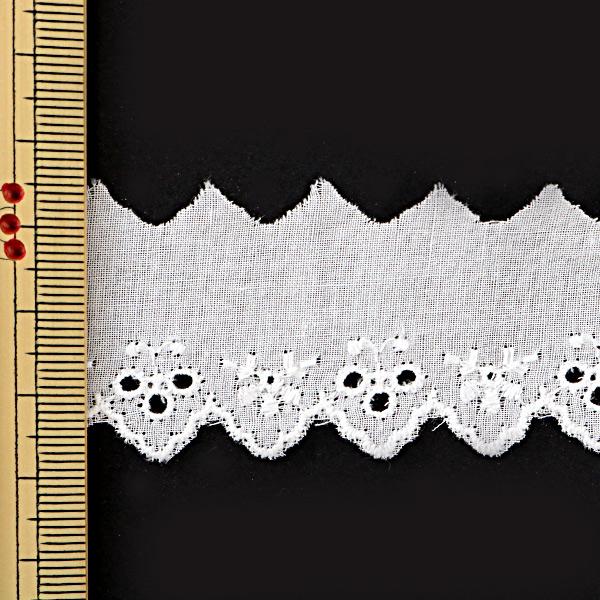 【数量5から】 『綿レース 白 幅約30mm』 718069