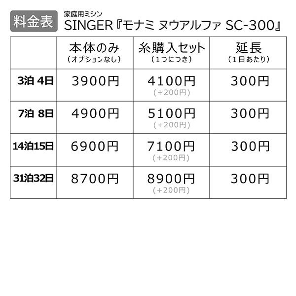 【レンタル】【送料無料】 家庭用ミシン 『SINGER モナミ ヌウアルファ SC-300』