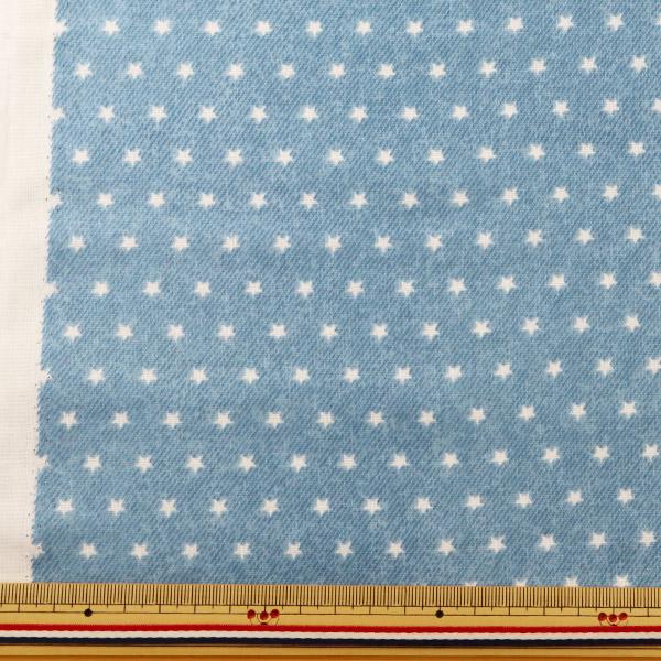 【数量5から】生地 『Wガーゼ (ダブルガーゼ) ホーミーコレクション ほし柄 デニム風 ライトブルー GH13044S-H』