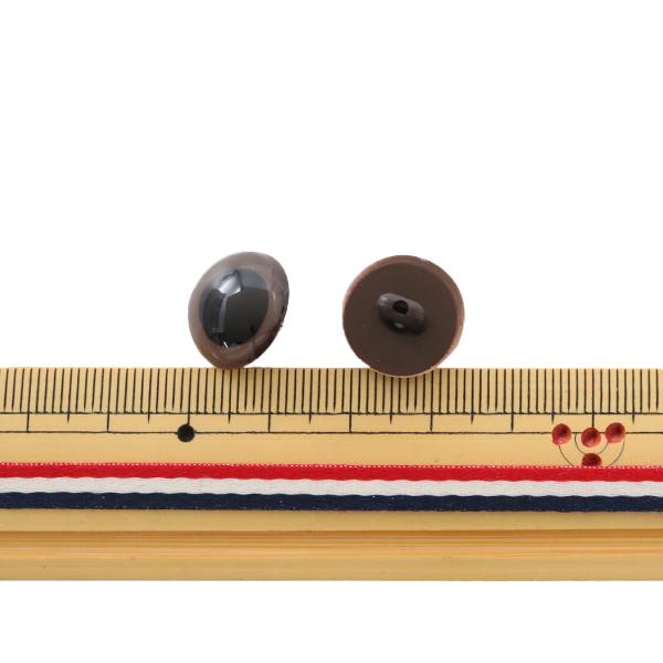 手芸 目 パーツ 『B目ボタン式 茶 15mm 4個入』