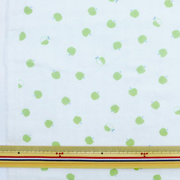 【数量5から】生地 『Wガーゼ ホーミーコレクション りんご モスグリーン GH10322S-B』