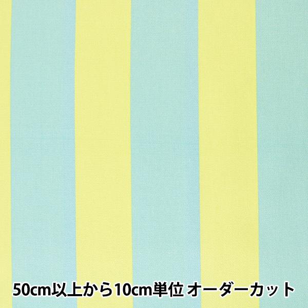 【数量5から】 生地 『ツイル teiban ストライプ柄 ライトグリーン&水色』 KOKKA コッカ