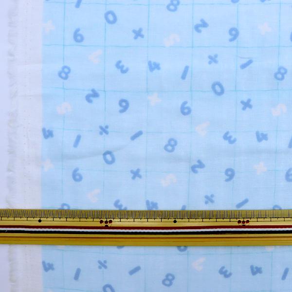 【数量5から】生地 『Wガーゼ ホーミーコレクション 数字 水色×ブルー GH10323S-C』