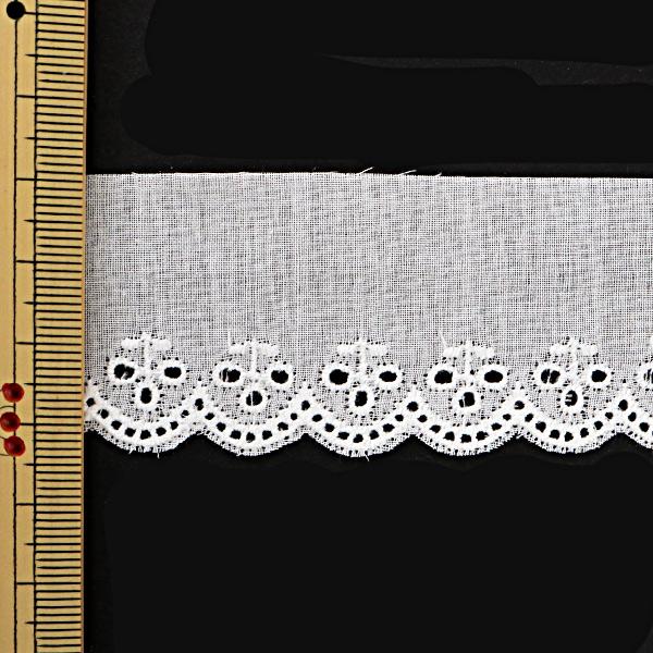 【数量5から】レースリボンテープ 『綿レース 白 幅33mm 626758』