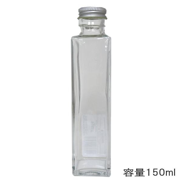 ハーバリウムボトル 『ガラスボトル角150ml キャップ銀 314105』 amifa アミファ