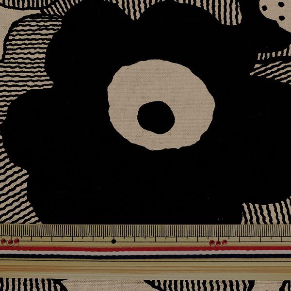 【数量5から】生地 『綿麻キャンバス ポピー ブラック UP5524-B』 COTTON KOBAYASHI コットンこばやし 小林繊維