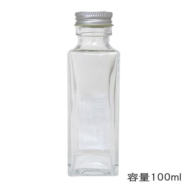 ガラスボトル角100ml キャップ銀 314107[アミファ 花 ドライフラワー アクアリウム 植物標本 ビン]