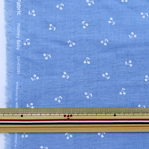 【数量5から】生地 『Wガーゼ ホーミーコレクション さくらんぼ ブルー GH10308S-C』