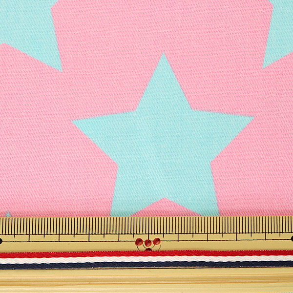 【数量5から】 生地 『ツイル teiban 星柄 水色&ピンク』 KOKKA コッカ