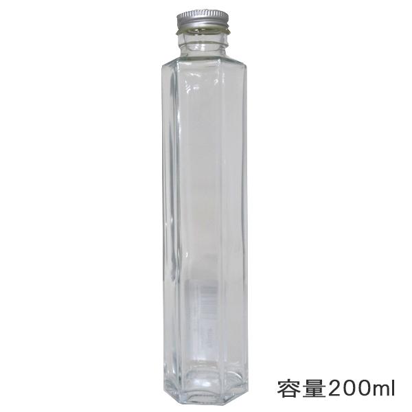 ハーバリウムボトル 『ガラスボトル六角200ml キャップ銀 314111』 amifa アミファ