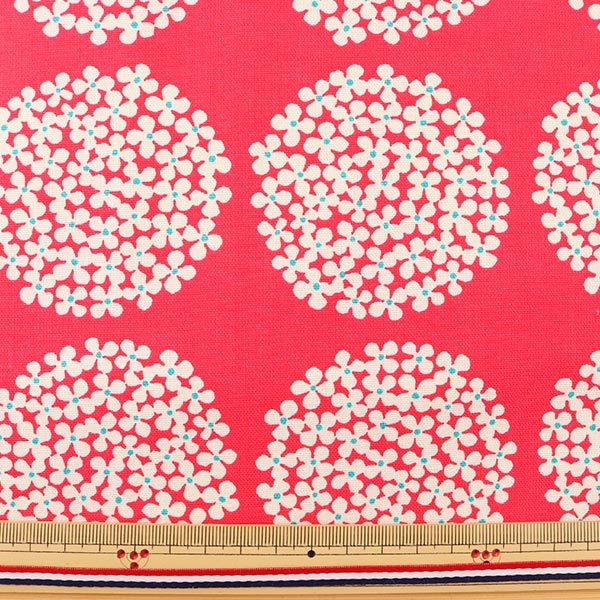 【数量5から】生地 『う早この布 10番キャンバス あじさい柄 UP5553-B レッド』 COTTON KOBAYASHI コットンこばやし 小林繊維