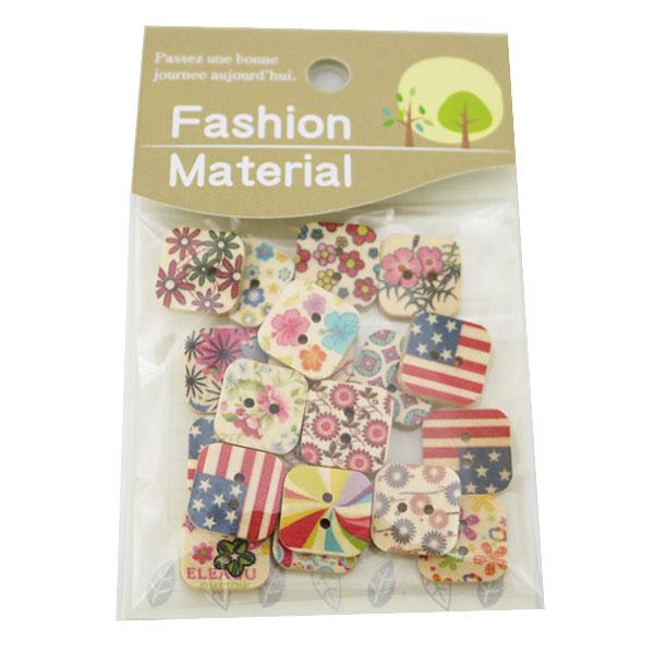 ボタン 『ウッドボタンミックス Jセット スクエア Fashion Material』