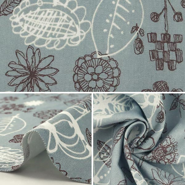 【数量5から】 生地 『綿麻キャンバス 線描き花柄 CC443049-1』 YUWA 有輪商店 シャルマンコレクション