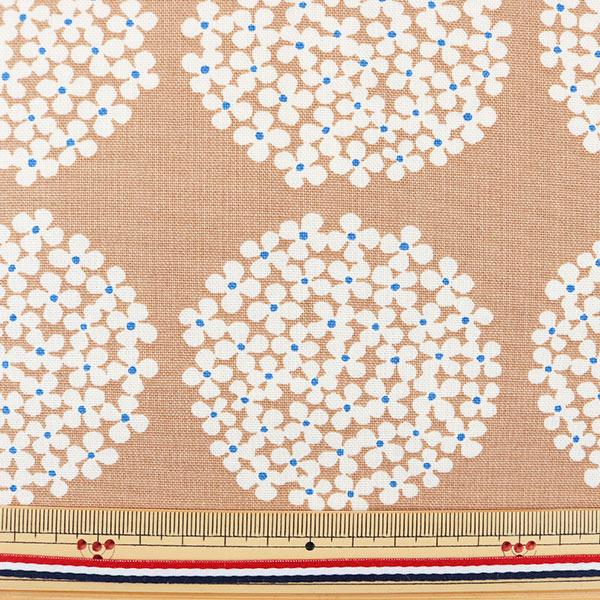 【数量5から】生地 『う早この布 10番キャンバス あじさい柄 UP5553-E モカ』 COTTON KOBAYASHI コットンこばやし 小林繊維