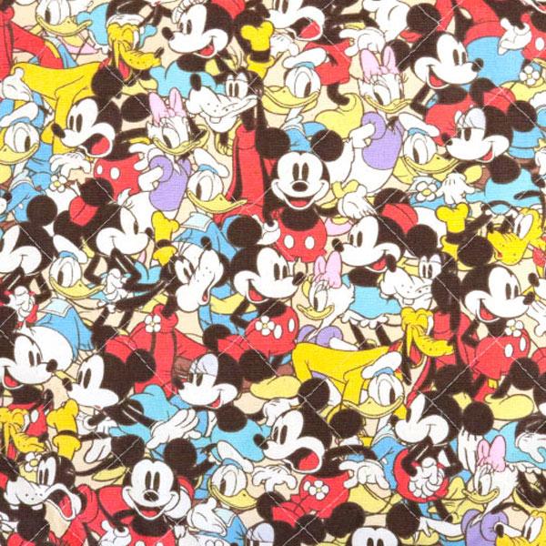 生地 『ディズニー ミッキーマウス フレンズ柄 ベージュ カットクロス キルティング生地』【ユザワヤ限定商品】