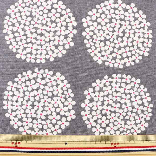 【数量5から】生地 『う早この布 10番キャンバス あじさい柄 UP5553-F グレー』 COTTON KOBAYASHI コットンこばやし 小林繊維