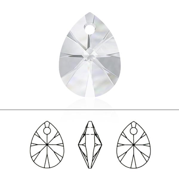 スワロフスキー 『#6128 XILION Heart Pendant ジェット 10mm 2粒』 SWAROVSKI スワロフスキー社