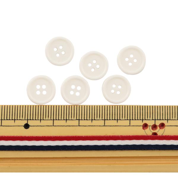 ボタン 『四つ穴ボタン 11.5mm 6個入り 白 PYTD10-11.5』
