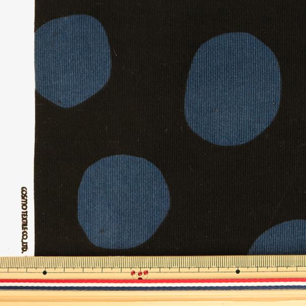 【数量5から】生地 『コール天プリント ドット柄 ブラック×ブルー AP-05403-2F』