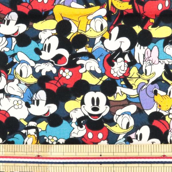 生地 『ディズニー ミッキーマウス フレンズ柄 黒 カットクロス オックス』【ユザワヤ限定商品】