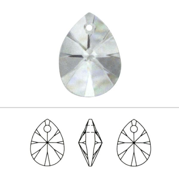 スワロフスキー 『#6128 XILION Heart Pendant クリスタル/AB 12mm 2粒』 SWAROVSKI スワロフスキー社