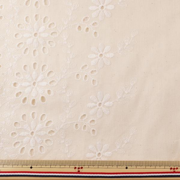 【数量5から】生地 『綿ローンレース 10527-KN ナチュラル』