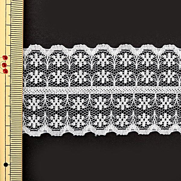 【数量5から】レースリボンテープ 『ラッセルレース ダブル 白 幅約45mm 768838-2』