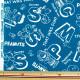 【数量5から】生地 『ナイロンタフタ PEANUTS(ピーナッツ) シンプルアルファベット ブルー 781040』