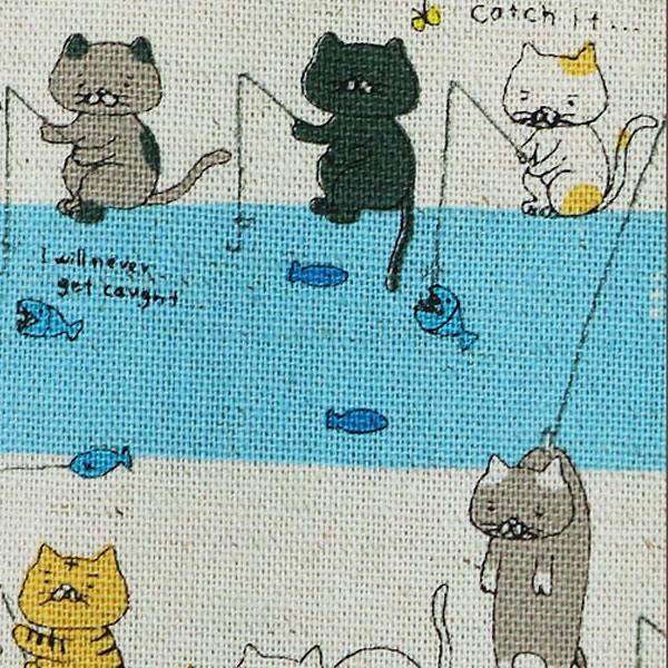 生地 『綿麻キャンパス 釣りねこ 50cm カットクロスC-KTS6276-B』 COTTON KOBAYASHI コットンこばやし 小林繊維