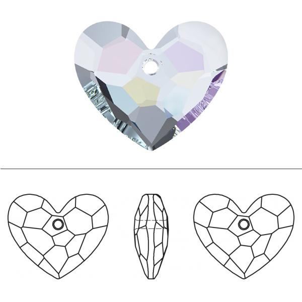 スワロフスキー 『#6264 Truly in Love Heart Pendant クリスタル/AB 18mm 1粒』 SWAROVSKI スワロフスキー社