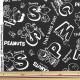 【数量5から】生地 『ナイロンタフタ PEANUTS(ピーナッツ) シンプルアルファベット ブラック 781071』