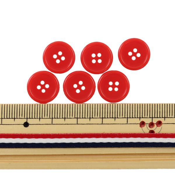 ボタン 『四つ穴ボタン 13mm 6個入り 赤 PYTD10-13』