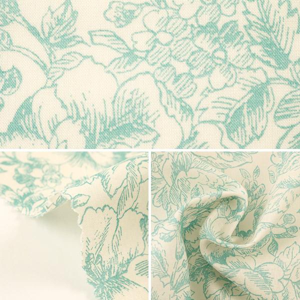 【数量5から】生地 『60ローン 単色線描き花柄 サックス YUZ-785-3』 YUWA 有輪商店【ユザワヤ限定商品】