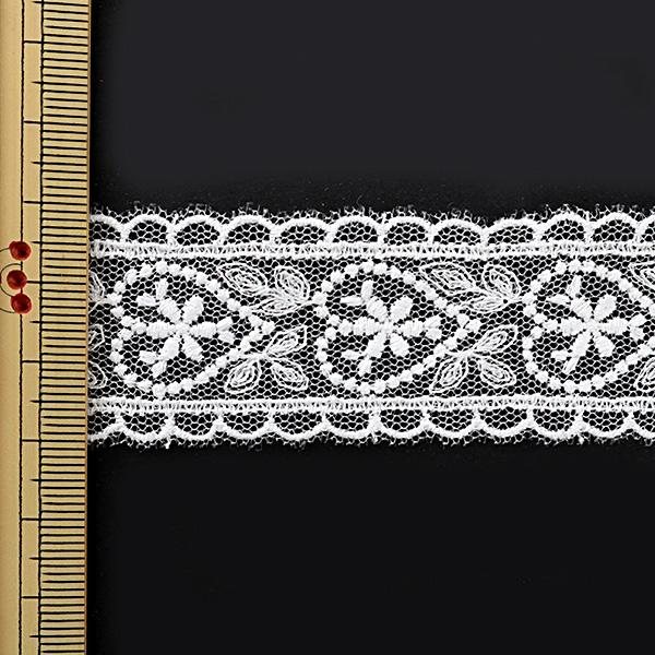 【数量5から】レースリボンテープ 『チュールレース 白 幅約30mm 24181』