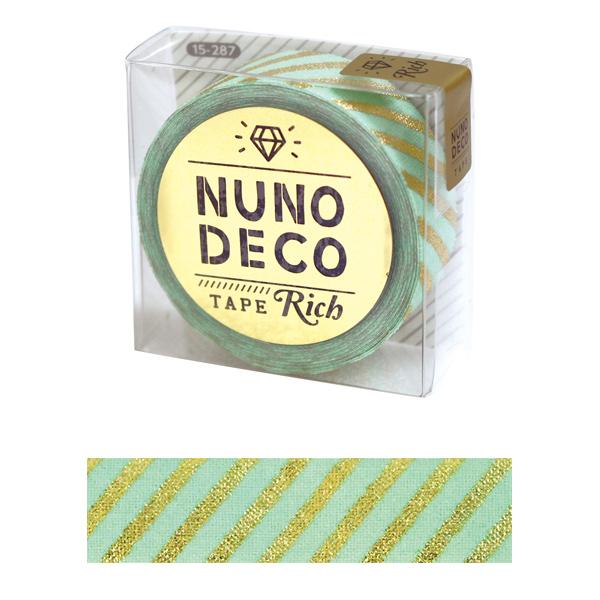 お名前ラベルシール 『NUNO DECO TAPE (ヌノデコテープ) リッチストライプ グリーン 15-287』 KAWAGUCHI カワグチ 河口
