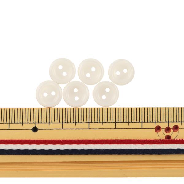 ボタン 『シャツボタン 二つ穴 10mm 6個入り 1番色 PVSO9003-01-10』