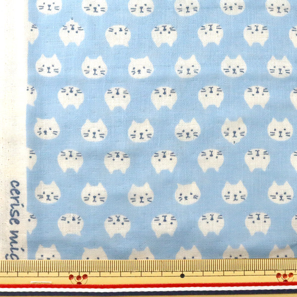 【数量5から】 生地 『Wガーゼ ねこ柄 水色 KTS3744-C』 COTTON KOBAYASHI コットンこばやし 小林繊維