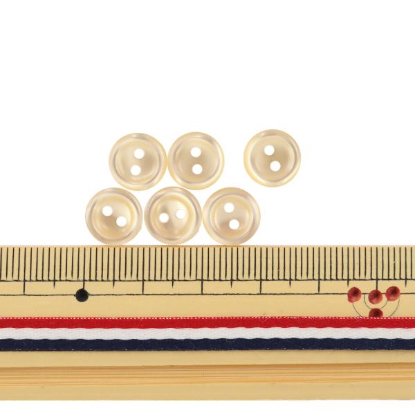 ボタン 『シャツボタン 二つ穴 10mm 6個入り 40番色 PVSO9003-40-10』