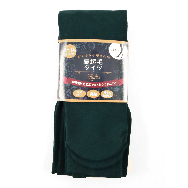 防寒具 『裏起毛タイツ グリーン 160デニール サイズ L-LL』 【ユザワヤ限定商品】