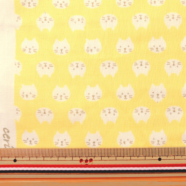 【数量5から】 生地 『Wガーゼ ねこ イエロー KTS3744-D』 COTTON KOBAYASHI コットンこばやし 小林繊維